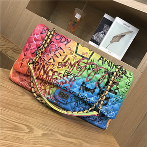 CGmana Women's Purse Bag 2018 New Color Graffiti Printed Shoulder Big Bag