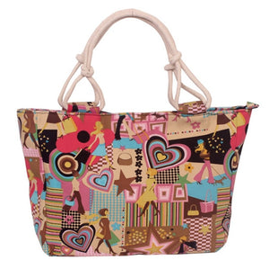 Foldable Women's Large Big Size Handbag Tote Ladies Casual Flower Print Canvas