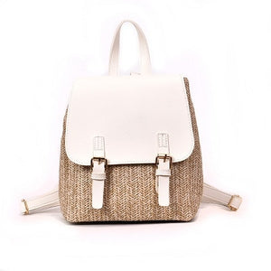 Women's Small Woven Backpack Female Summer Beach Rucksack