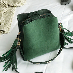 Women's Bucket Bag Vintage Tassel Messenger Bag High Quality Retro Shoulder Bag