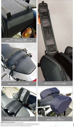 SaddleBags / Motorcycle Side Helmet Riding Travel Bags + Rain Cover