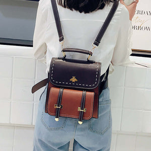 Women's Vintage Pu Leather  Backpack Simple Preppy Style Backpack Women