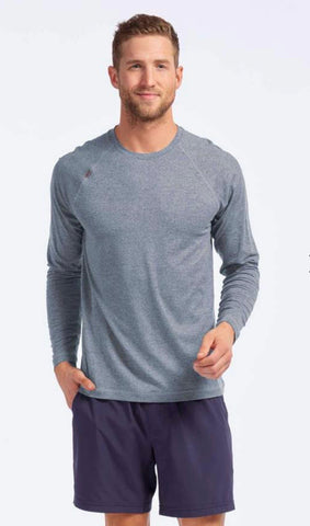 Rhone Reign Long Sleeve Athletic Shirt - Bluestone Heather
