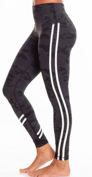 Vimmia High-waisted leggings Dark Camo with white stripe