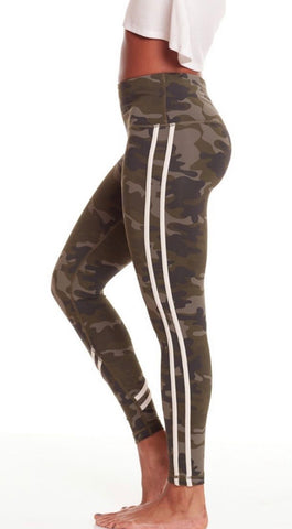 Vimmia High-waisted leggings- Olive Camo with Sand Strip