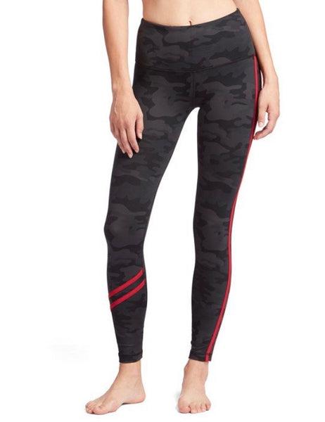 Vimmia High-waisted leggings Dark Camo with red stripe