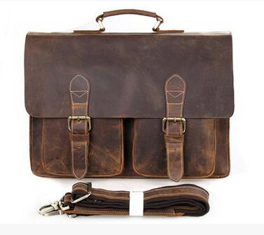 b26b0fca9b Vintage Cow Leather Briefcases for Men Luxury Genuine Leather Work Bags Big Real  Leather Brief Case