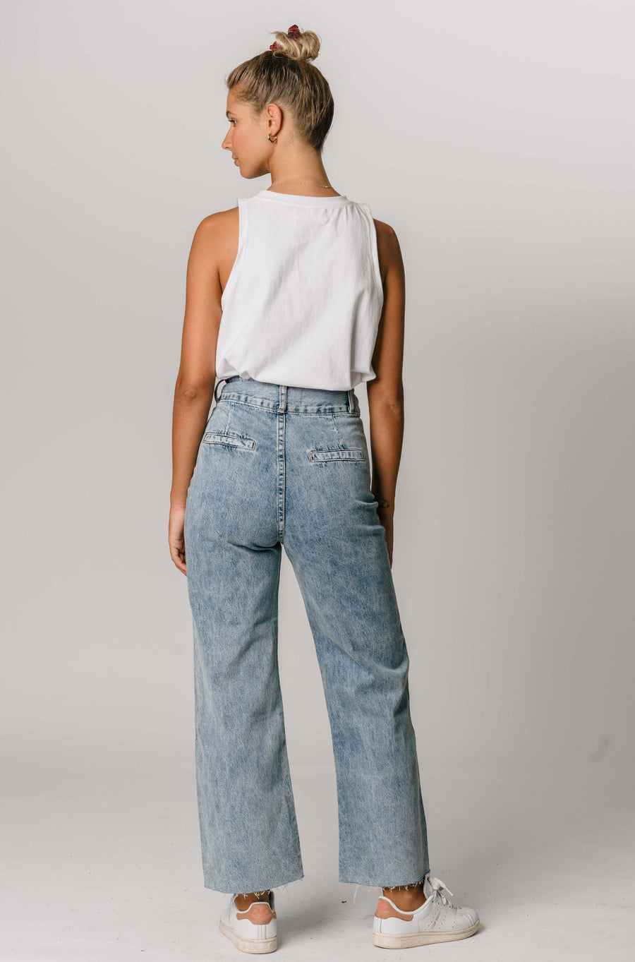Denim Pants with Double Dome