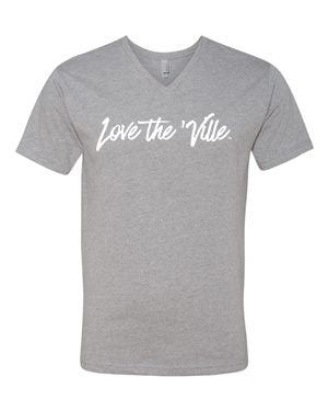 Love the 'Ville Dark Heather Grey V-Neck Unisex T-shirt