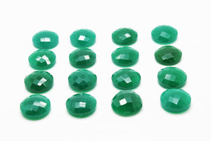 Natural Round AA Green Onyx Gemstone Faceted Cabochon Jewelry Supply Wholesale