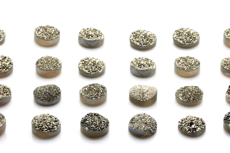 8mm Natural Crystal Druzy Gemstone Agate Quartz Cabochon Jewelry Making Silver