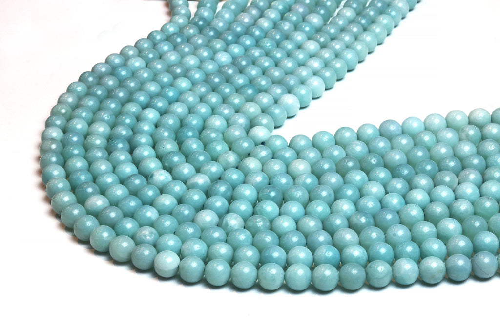 Natural 6mm Amazonite Beads Smooth Round Loose Spacer Gemstone Jewelry Supplies