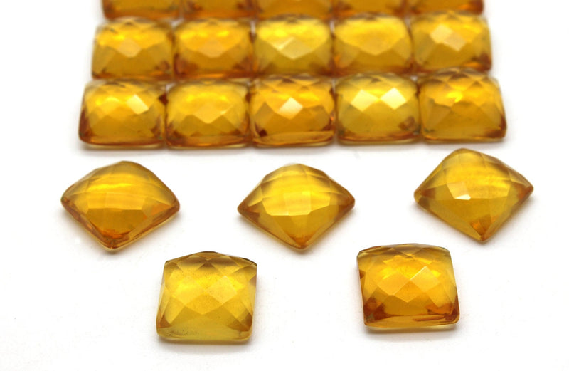 12x12mm Natural Citrine Faceted Cabochon Loose Calibrated Gemstone Bulk Sale