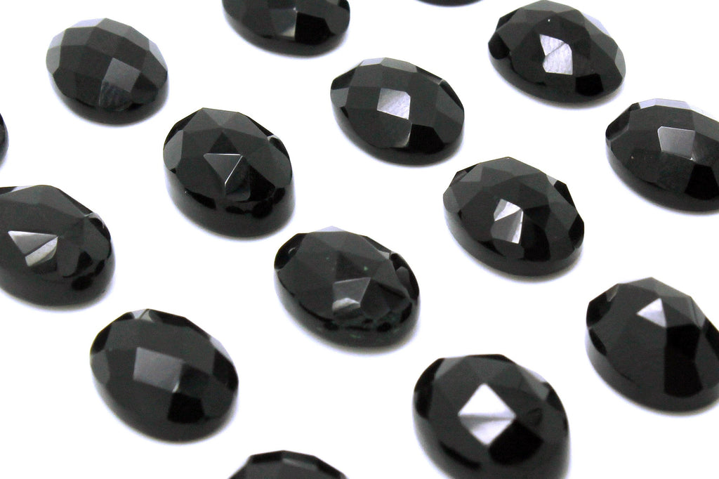 Onyx Faceted Cabochon Oval Black Gemstone Natural Loose Fine AA Grade Wholesale