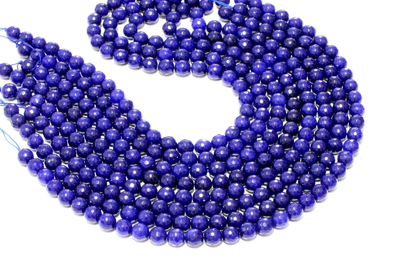 8mm Natural Round Blue Jade Beads Loose Faceted Spacer Gemstone Jewelry Supply