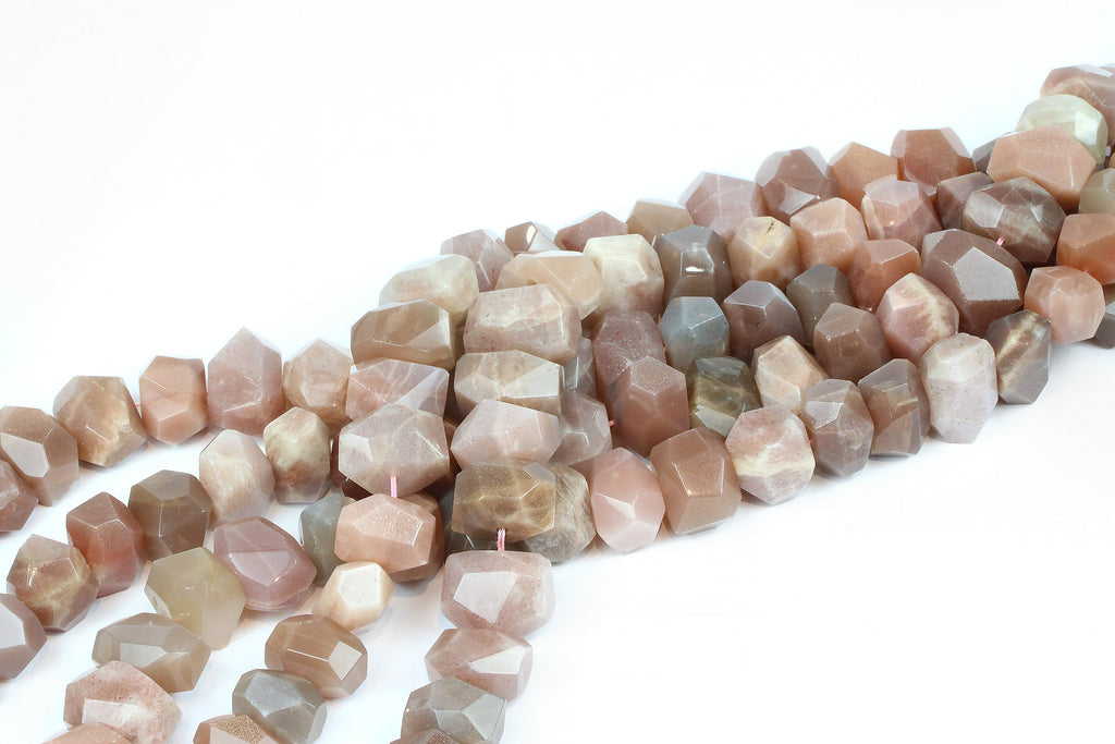 Natural AA Sunstone Nugget Beads Faceted Loose Spacer Gemstone Jewelry Supply