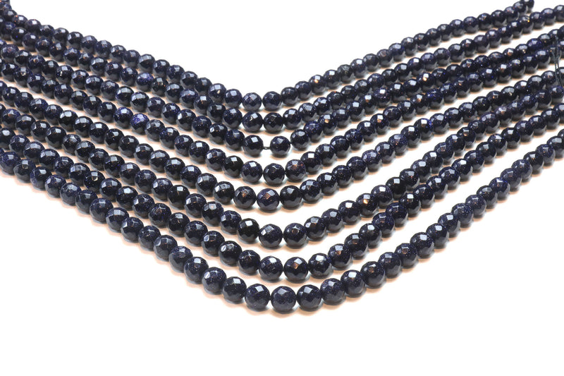 "Goldstone Beads 6mm Round Faceted Loose Gemstone DIY Jewelry Supply 16"" Strand"