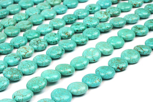 Natural AA Turquoise Magnesite Puffy Coin Loose Spacer Gemstone Beads Wholesale