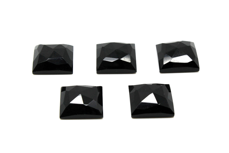 Large Square Faceted Cabochon Natural AA Black Onyx Gemstones Wholesale Rose Cut