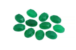 Green Oval AA Chalcedony Gemstone Loose Faceted Cabochon Jewelry Making Supply