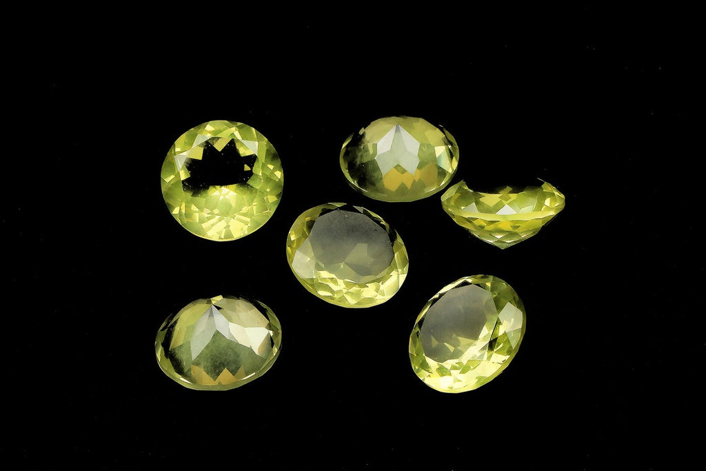 Yellow Lemon Quartz Gemstone Diamond Cut Faceted Round Loose DIY Jewelry Supply