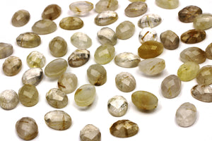 Golden Rutilated Quartz Oval Gemstone Faceted Loose Cabochon Jewelry Supplies