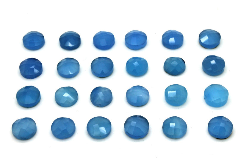Blue Chalcedony Gemstone Round 10mm Faceted Cabochon Loose Jewelry Making Supply