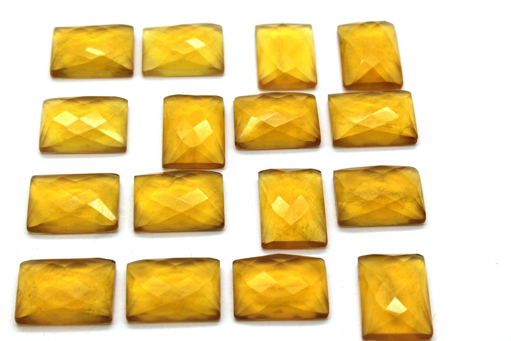 Calibrated Gemstone Natural Rectangle Citrine Faceted Cabochon Jewelry Making