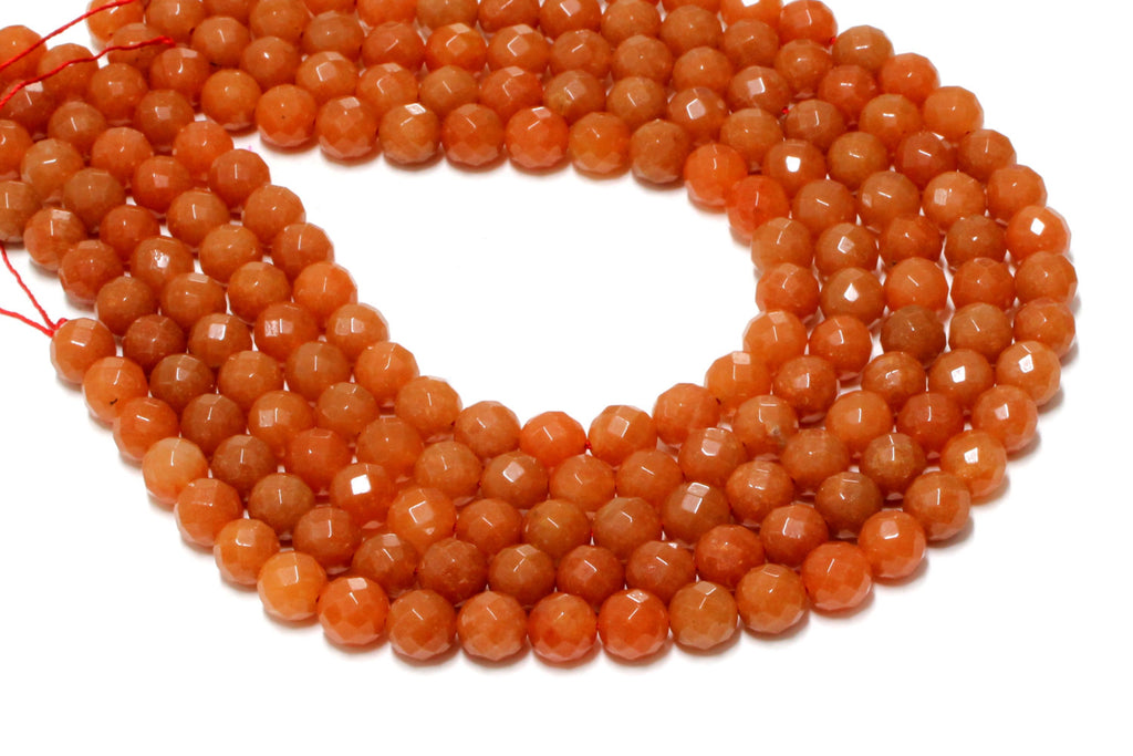 Large Natural Aventurine Necklace Orange Faceted Round Loose Bulk Spacer Beads