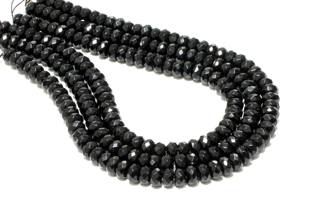 Black Onyx 6x10mm Faceted Rondelle Beads Loose Gemstone Jewelry Making Supply