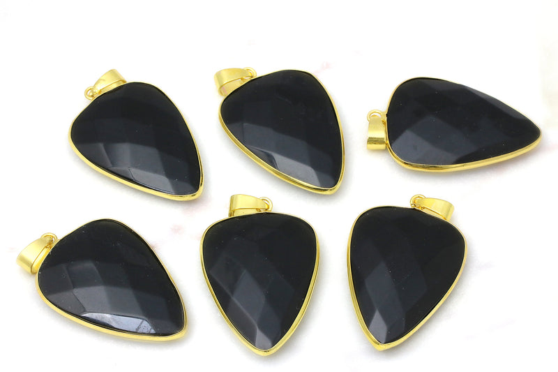Black Obsidian Gemstone Pendant Jewelry Making Supplies Brass Findings DIY Parts