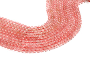 Semiprecious Cherry Quartz Gemstone Beads Natural Smooth Round Loose Crystal 6mm