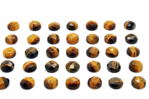 Natural Round Tiger Eye Gemstone Loose Faceted Cabochon Wholesale Jewelry Making