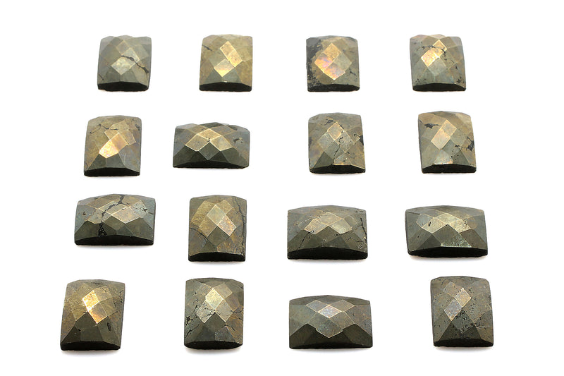 Natural Pyrite Gemstone Rectangle 13x18mm Faceted Loose Cabochon Jewelry Making
