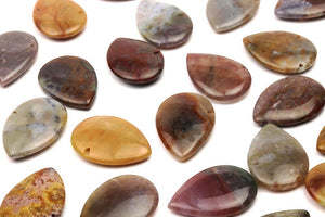 Jasper Teardrop Beads Multi Color Natural Gemstone Side Drilled Jewelry Supply
