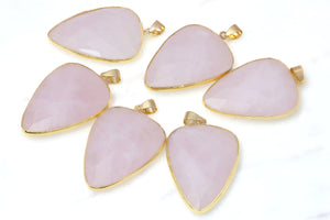 26x40mm Rose Quartz Gemstone Pendant Jewelry Finding DIY Parts Materials Supply