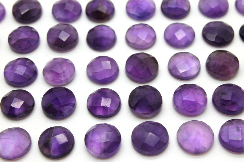 Amethyst Round Natural Gemstone Loose Checker Cut Stone Faceted Cabochon DIY Gem