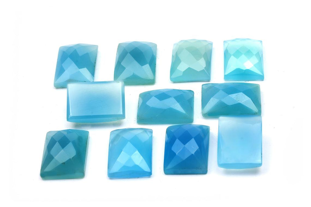 Blue Chalcedony Gemstone Grade AA Loose Rectangle Faceted Cabochon DIY Jewelry
