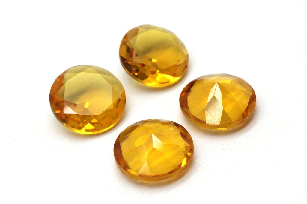 Natural Heated Faceted Citrine Loose Round November Gem Wholesale Jewelry Making