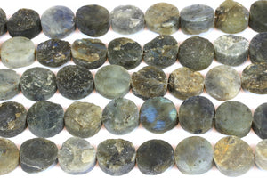 Labradorite Rough Coin Beads Natural Gemstone Raw Loose Jewelry Supply Wholesale