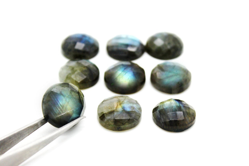 10mm Round Natural AA Labradorite Faceted Cabochon Gemstone Loose Bulk Gem Sale