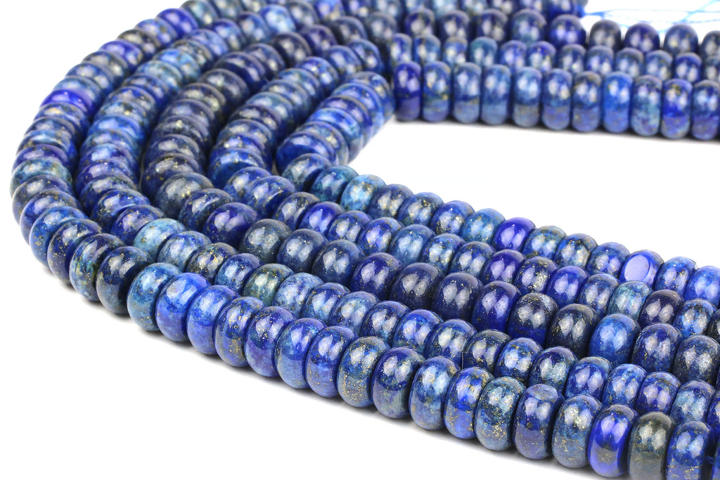 Lapis Lazuli Rondelle Beads Smooth Loose Natural Gemstone September Birthstone