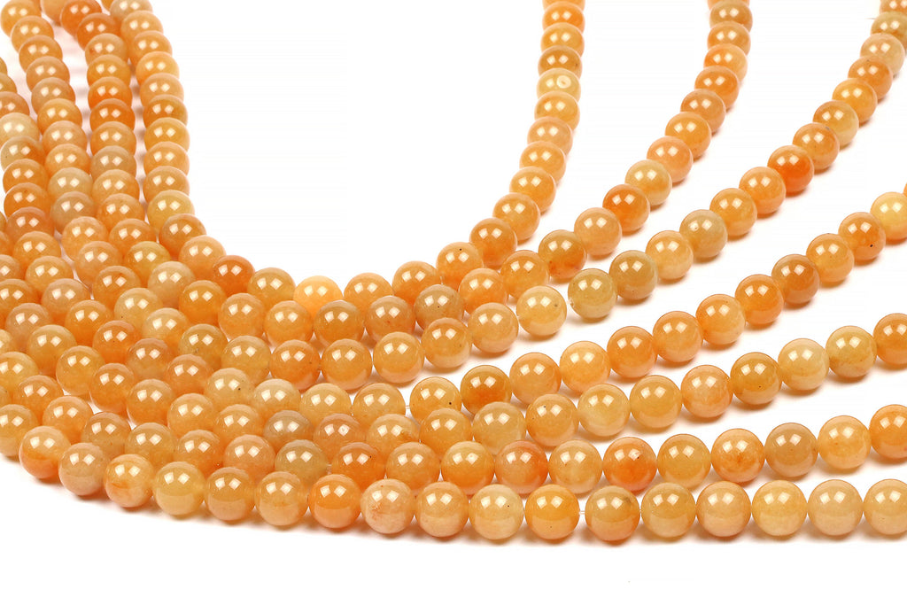 Natural Orange Aventurine Beads Loose Round Smooth Gemstone Jewelry Making Gem