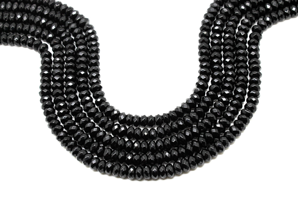 Black AA Onyx Rondelle Beads Loose Faceted Spacer Gemstone Jewelry Making Supply