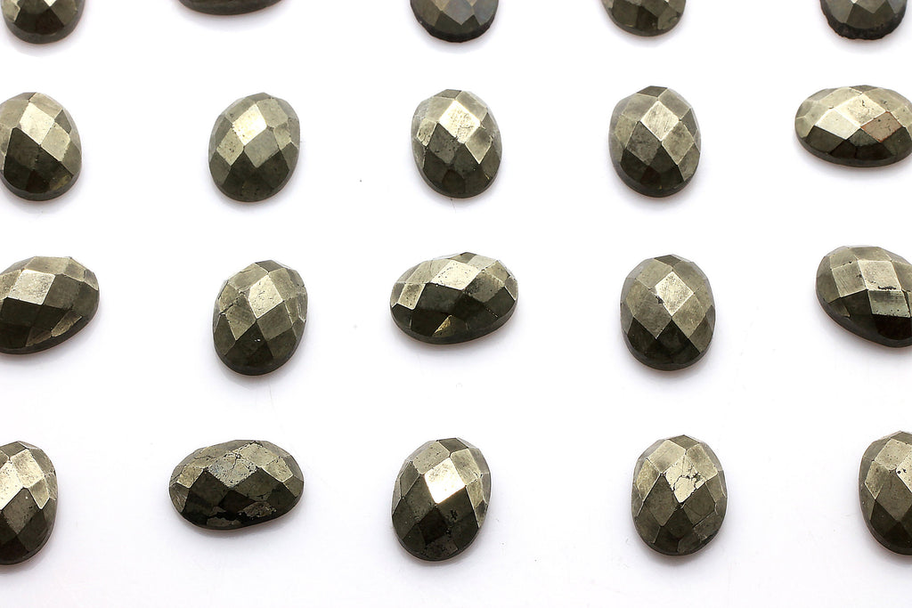 Oval Natural Pyrite Gemstone Faceted Cabochon Loose Jewelry Making Bulk Sale Gem