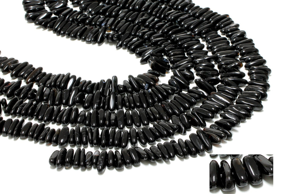 Natural Black Onyx Chips Beads Loose AA Gemstone Jewelry Supply Wholesale
