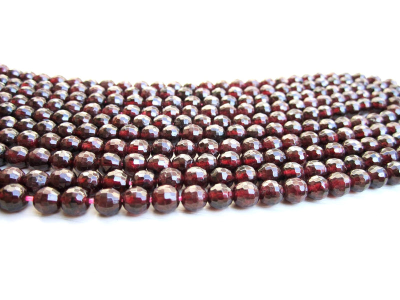8mm Natural Round Cherry Red Garnet Beads Loose Faceted 16