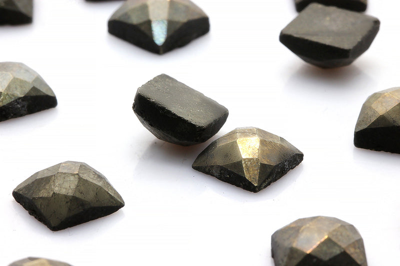 8x8mm AA Square Natural Pyrite Faceted Cabochon Loose Gemstone Jewelry Making