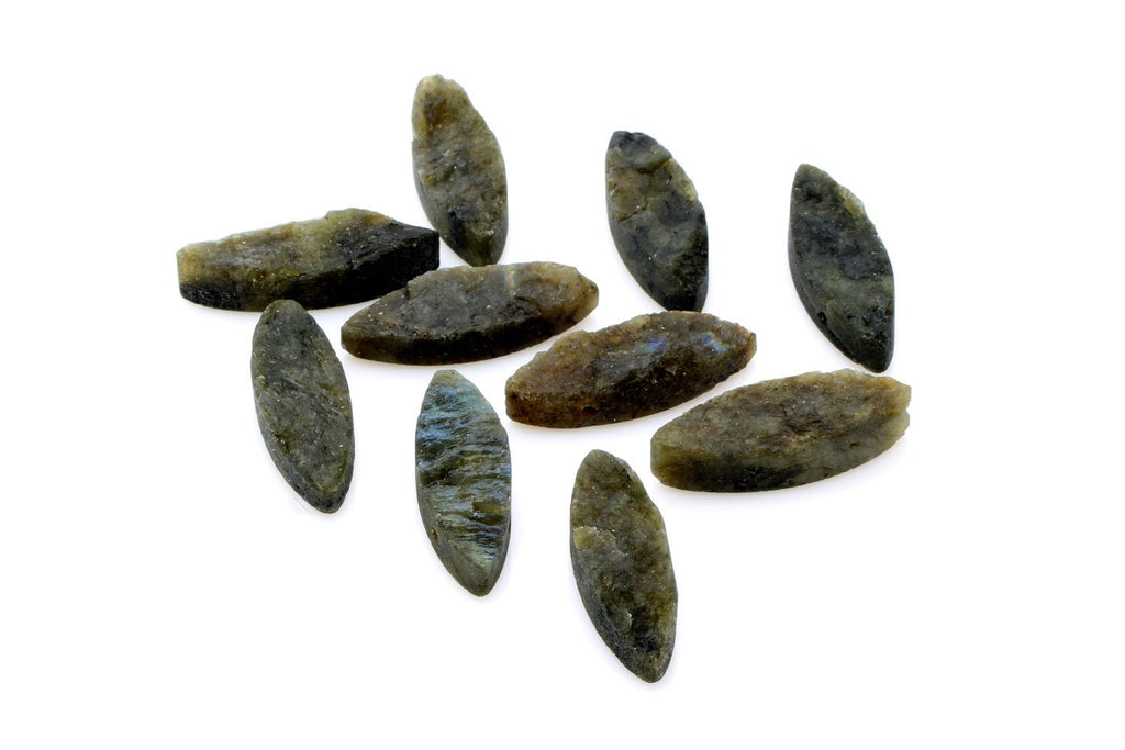 10x30mm Natural Labradorite Gemstone Rough Raw Horse Eyes Beads Jewelry Supplies