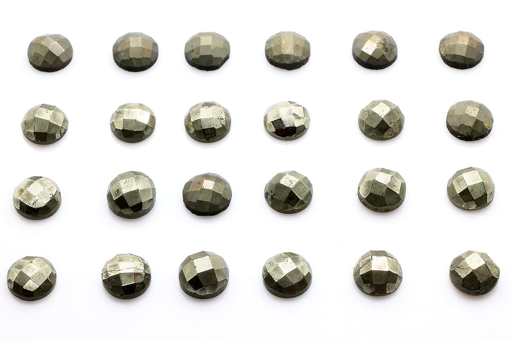 Round Pyrite Cabochon Natural Calibrated Faceted Gemstone Loose DIY Jewelry Gem
